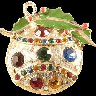 Rhinestone Christmas Ornament Brooch Pin Goldtone Enamel Holly