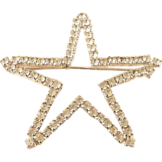 Vogue Rhinestone Star Pin Signed Vintage Sparkling