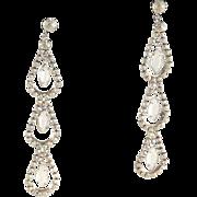 Rhinestone Shoulder Duster Earrings Dangle Statement Vintage Chandelier