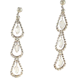 Rhinestone Shoulder Duster Earrings Dangle Statement Vintage Chandelier