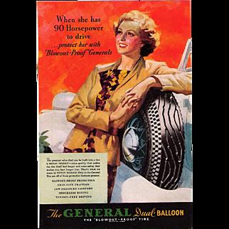 1935 Magazine Advertisement General Dual - Balloon Tires