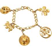 Charm Bracelet Germany Vintage Goldtone 5 Charms