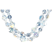 Blue AB Crystal Necklace 2 Strand Adjustable 1950's - 60's