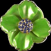 Enamel Flower Brooch Pin Pave Rhinestone Center Vintage 1960's