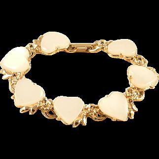 Heart Bracelet White Glass Hearts Goldtone Flower Setting Vintage