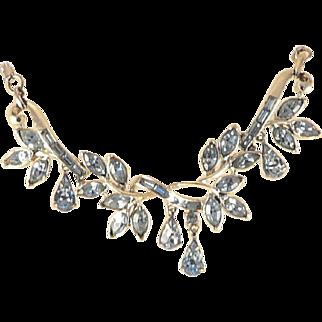 Coro Blue Rhinestone Necklace Teardrop Shape Dangles Rhodium Plated Vintage