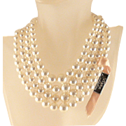Richelieu Faux Pearl Necklace Original Tag 4 Strand Vintage