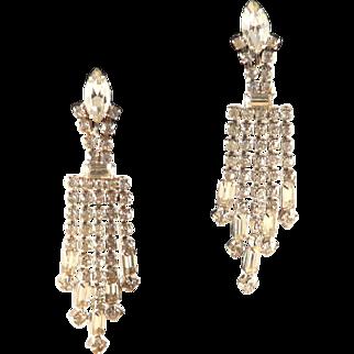Vintage Rhinestone Earrings Dangle Fringed Vintage 1950s Era