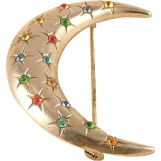 Crescent Moon and Stars Pin Vintage Silvertone Multi color Sets