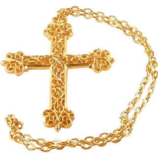 Cross Pendant Necklace Filigree Goldtone Statement Vintage