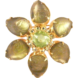 Molded Glass Flower Pin with Rhinestones and Faceted Central Stone