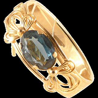 Hinged Bangle Bracelet with Large Faceted Blue Green Stone Goldtone Vintage