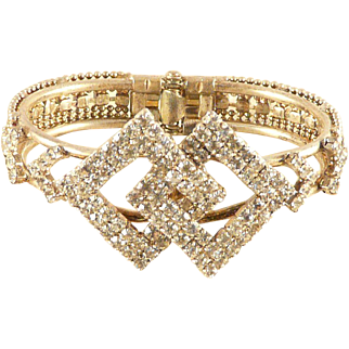 Rhinestone Clamper Bracelet Deco Inspired Interlocking Diamond Shapes Goldtone Vintage