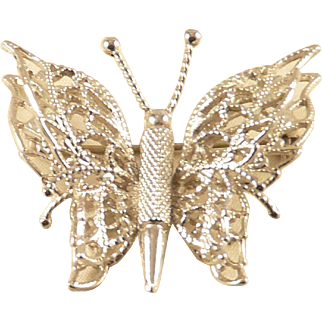 Monet Buterfly Pin Silvertone Figural Vintage