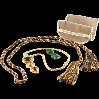 Sandi Miller Burrows Jewelry Set Necklace Earrings Belt Original Pouch