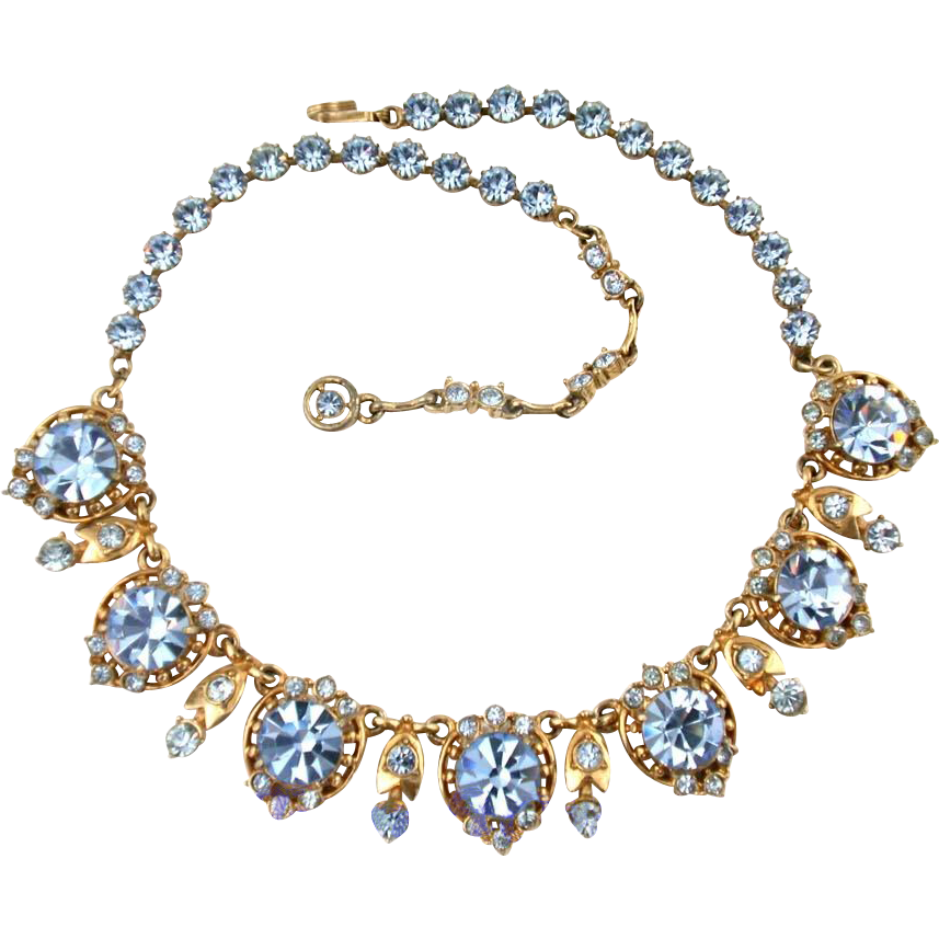 26443a vintage hollycraft 1955 baby blue necklace
