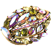 28295a - Vintage Hollycraft 1959 Red Yellow Green & Clear AB Red AB Stone Brooch