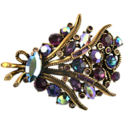 28319a - Vintage Hollycraft 1959 Purple, Purple AB, Blue AB Flower Bouquet Brooch/Pin