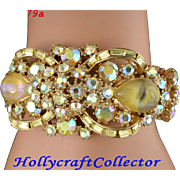 28579a - Vintage Hollycraft 1959 Yellow AB & Yellow Opal Hinged Cuff Bracelet