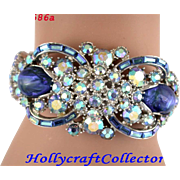 28586a - Hollycraft 1959 Light Blue AB & Blue Opal Double Double Hinged Bracelet