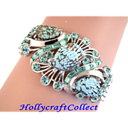 28827a - Vintage Hollycraft 1958 Aqua Sea Shell Chain Bracelet