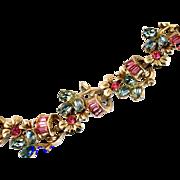 29033a - Hollycraft 1955 Oval Montana & Round Baguette Pink Stone Bracelet