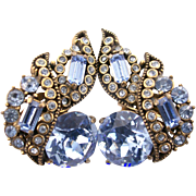29171a - Vintage Hollycraft 1955 Light Sapphire Stones Headlight Clip Earrings