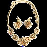 29180a - Hollycraft 1955 Yellow & Topaz Rhinestones Necklace & Earrings Set