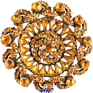 29308a - HOLLYCRAFT 1954 Topaz Color Stones Round Brooch/Pin