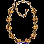 29314a - Vintage Hollycraft 1954 Topaz Necklace - Choker - Dog Collar