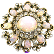 29479a - Hollycraft Pink Opal Cabochons & Diamante Rhinestones Brooch/Pin