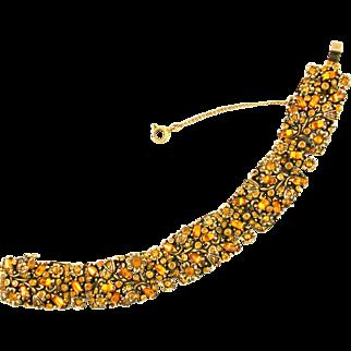 29555a - Hollycraft 1950 RARE Topaz Color Rhinestones Wide Bracelet