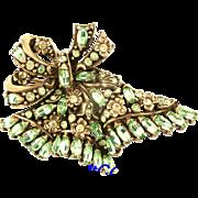 29602a - Hollycraft 1950 Jonquil Flower & Oval Peridot Stones HUGE FAN Brooch