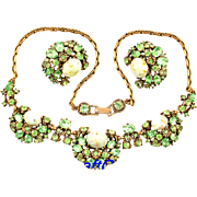 29615a - Hollycraft 1951 Peridot Green Stones & Opal Necklace & Earrings Set