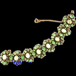 29618a - Hollycraft 1951 Peridot Green Stones & Opal Cabochons Wide Bracelet