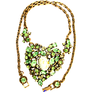 29636a - Hollycraft 1951 Peridot Green Stones & Opal Cabochons Heart Necklace