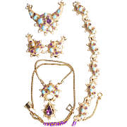 29707a - HOLLYCRAFT 1951 Turquoise Cabs Amethyst Stones & Faux Pearls Full Set
