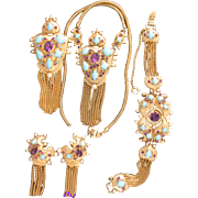 29712a - HOLLYCRAFT 1951 Turquoise Cabs Amethyst Stones & Faux Pearls Full Set