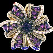 29765a - Vintage Hollycraft 1957 Purple & Lavender 6-Point Star Brooch/Pin
