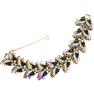 29810a - Vintage Hollycraft 1957 Montana & Light Sapphire Wide Bracelet 2 Die 4