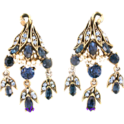 29829a - Vintage HOLLYCRAFT 1956 Blue Color Stones Wired Seed Pearls Dangle Earrings