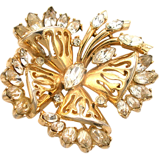 29894a - Signed HOLLYCRAFT 1952 Clear Crystal Four-Leaf Clover Brooch