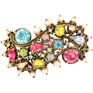 29899a - Signed Hollycraft 1951 Color Pastel Rhinestones & Faux Pearls Brooch/Pin