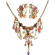 29974a - Hollycraft Yellow AB Molded Glass Rhinestones Necklace & Earrings Set