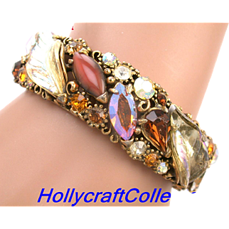 29975a - Hollycraft Brown Topaz Peach & Yellow AB Molded Leaves Hinged Bracelet