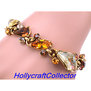 30011a - Hollycraft Brown Topaz Peach & Yellow AB Molded Leaves Bracelet