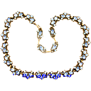 30033a - Vintage HoLLyCRaFT 1953 Blue Colored Necklace/Choker/Collar