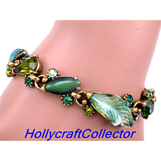 30044a - Hollycraft With Array of Greens & Green AB Molded Leaves Bracelet
