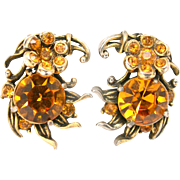30412a - Signed Hollycraft 1954 Topaz Color Stones Flower Clip Back Earrings