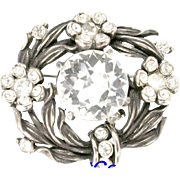 30415a - Signed Hollycraft 1954 Clear Crystal Color Stones Flower Small Brooch